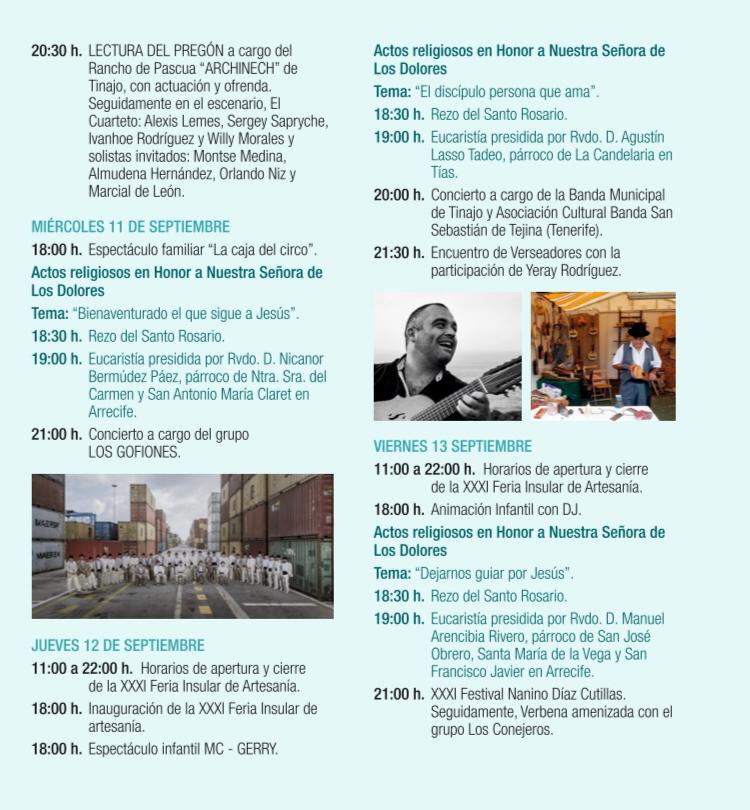 Programa Fiestas Los Dolores 2019 Tinajo 3 - Revista